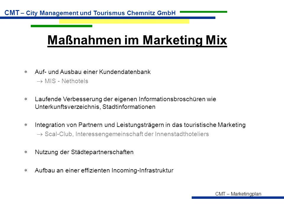 CMT – Marketingplan CMT – City Management und Tourismus Chemnitz GmbH Maßnahmen im Marketing Mix  Auf- und Ausbau einer Kundendatenbank  MIS - Netho