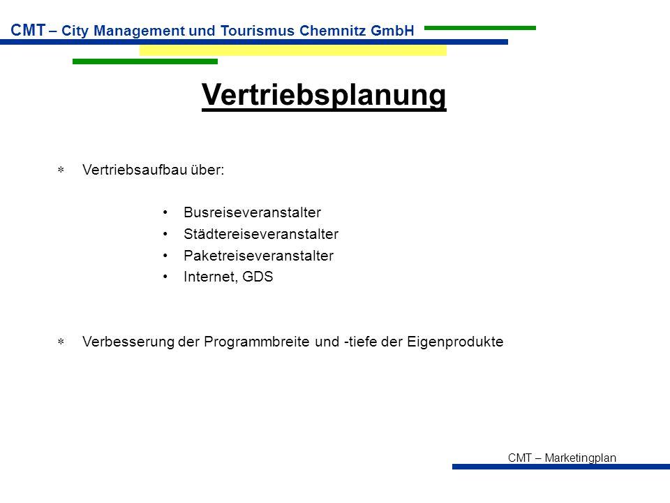 CMT – Marketingplan CMT – City Management und Tourismus Chemnitz GmbH Vertriebsplanung  Vertriebsaufbau über: Busreiseveranstalter Städtereiseveranst