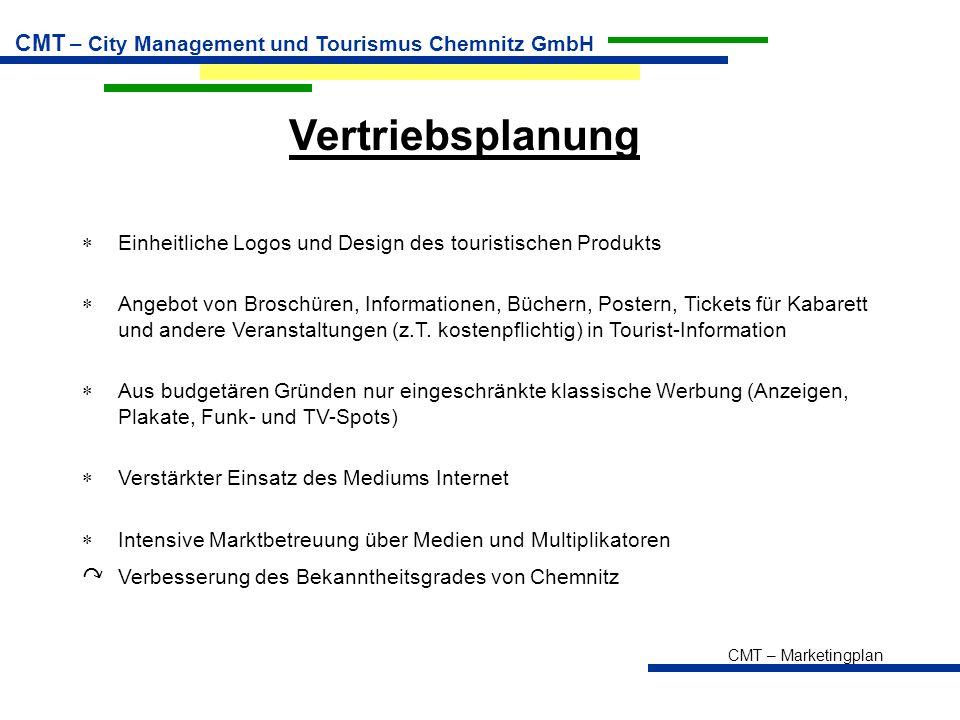 CMT – Marketingplan CMT – City Management und Tourismus Chemnitz GmbH Vertriebsplanung  Einheitliche Logos und Design des touristischen Produkts  An