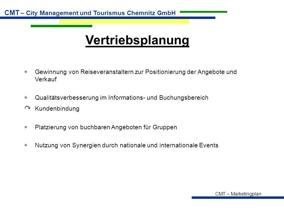 CMT – Marketingplan CMT – City Management und Tourismus Chemnitz GmbH Vertriebsplanung  Gewinnung von Reiseveranstaltern zur Positionierung der Angebote und Verkauf  Qualitätsverbesserung im Informations- und Buchungsbereich ↷ Kundenbindung  Platzierung von buchbaren Angeboten für Gruppen  Nutzung von Synergien durch nationale und internationale Events