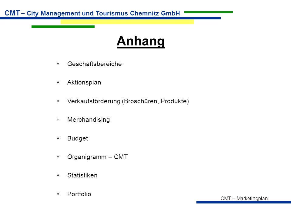 CMT – Marketingplan CMT – City Management und Tourismus Chemnitz GmbH Anhang  Geschäftsbereiche  Aktionsplan  Verkaufsförderung (Broschüren, Produkte)  Merchandising  Budget  Organigramm – CMT  Statistiken  Portfolio
