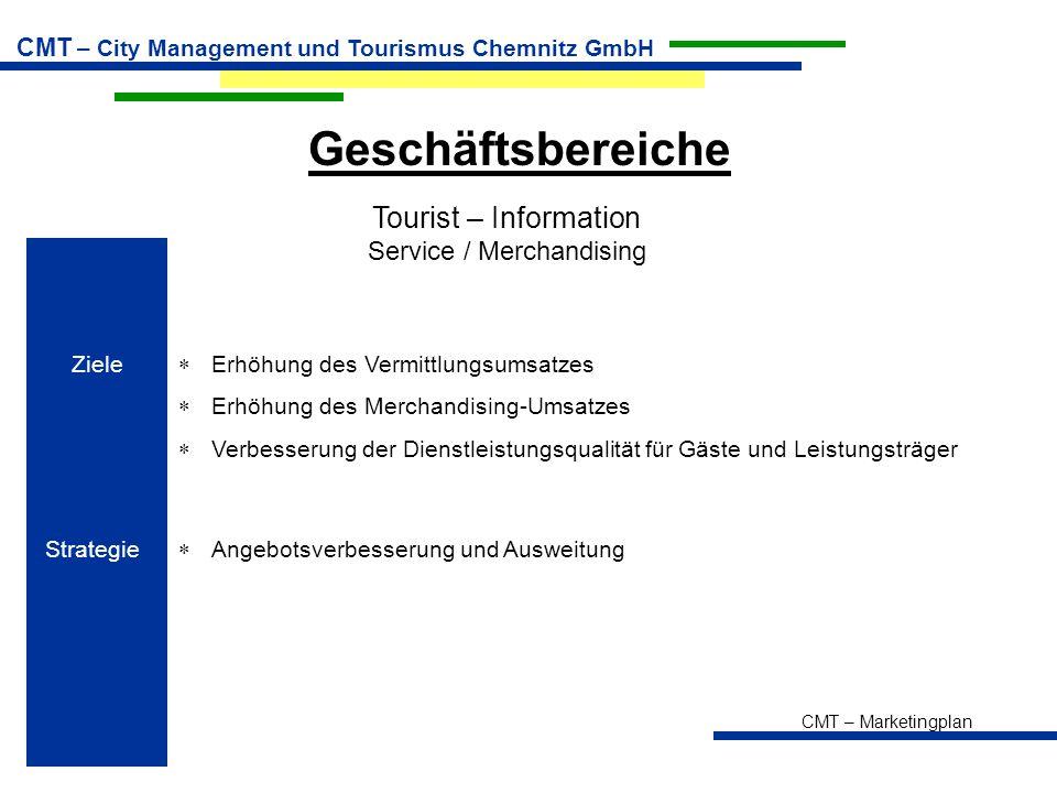 CMT – Marketingplan CMT – City Management und Tourismus Chemnitz GmbH Geschäftsbereiche Tourist – Information Service / Merchandising Ziele  Erhöhung des Vermittlungsumsatzes  Erhöhung des Merchandising-Umsatzes  Verbesserung der Dienstleistungsqualität für Gäste und Leistungsträger Strategie  Angebotsverbesserung und Ausweitung