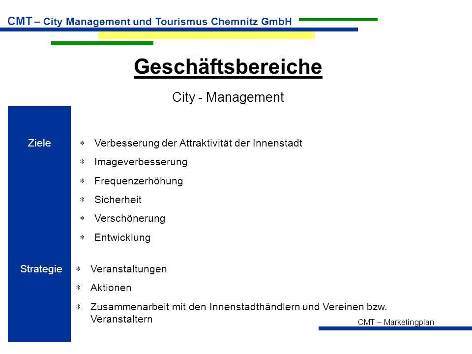 CMT – Marketingplan CMT – City Management und Tourismus Chemnitz GmbH Geschäftsbereiche City - Management Ziele  Verbesserung der Attraktivität der I