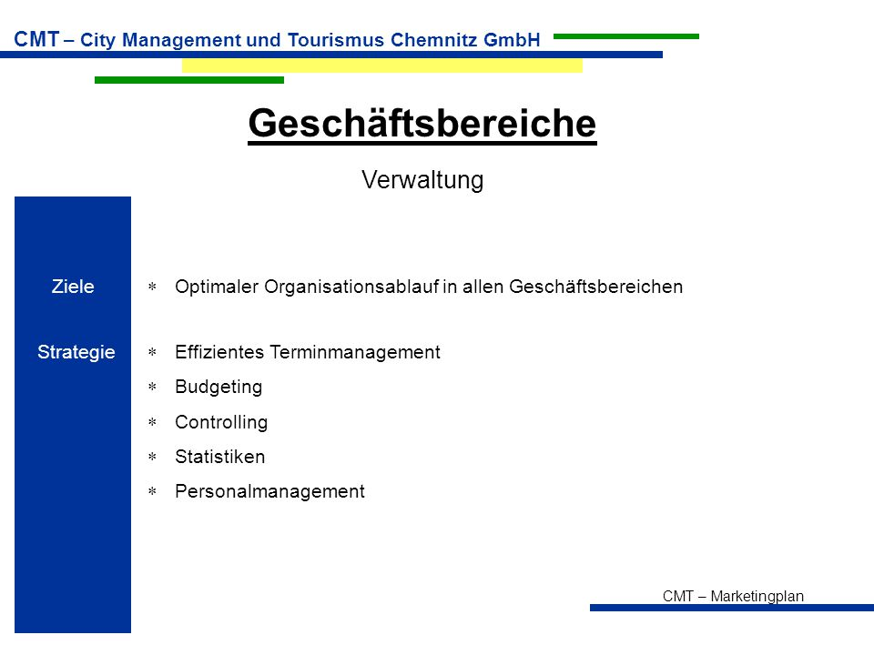 CMT – Marketingplan CMT – City Management und Tourismus Chemnitz GmbH Geschäftsbereiche Verwaltung Ziele  Optimaler Organisationsablauf in allen Gesc