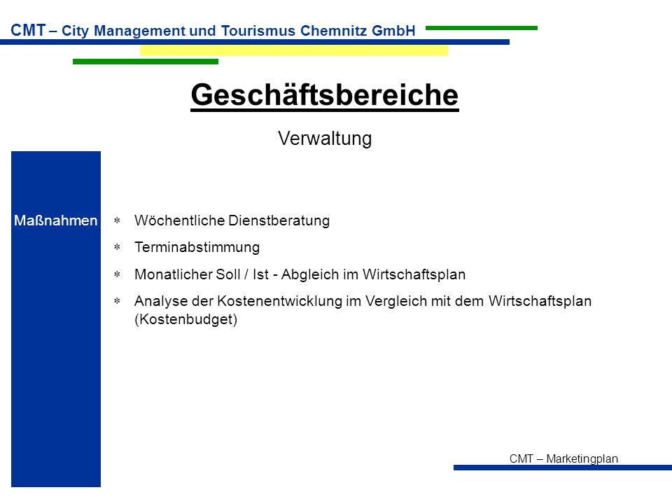 CMT – Marketingplan CMT – City Management und Tourismus Chemnitz GmbH Geschäftsbereiche Verwaltung Maßnahmen  Wöchentliche Dienstberatung  Terminabstimmung  Monatlicher Soll / Ist - Abgleich im Wirtschaftsplan  Analyse der Kostenentwicklung im Vergleich mit dem Wirtschaftsplan (Kostenbudget)