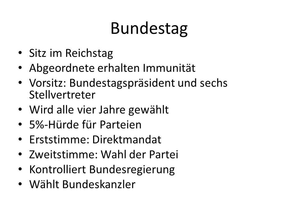 Bundestag: Machtgefüge im Gesetzgebungsprozess Rat, Regierung oder Bundestag schlagen Gesetzesinitiative vor Bundestagspräsident stellt diese vor Ausschuss setzt sich mit Initiative auseinander und gibt Beschlussempfehlung Folgt Debatte mit Änderungsvorschlägen In 3 Lesung findet endgültige Abstimmung statt