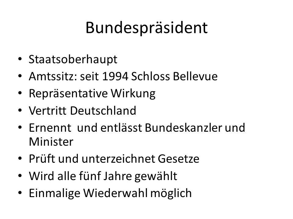 Bundesverfassungsgericht Hauptsitz in Karlsruhe Gegründet am 28.September 1951 Oberste rechtliche Instanz Entscheidungen sind für alle Verfassungsorgane bindend BVerfG nur an Grundgesetz gebunden Aufteilung in 2 Senate und 7 Kammern Präsident ist Vorsitzender der Zweiten Kammer