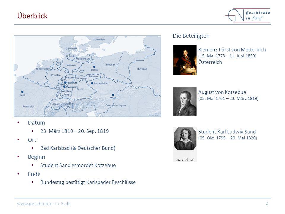 www.geschichte-in-5.de Überblick Datum 23. März 1819 – 20. Sep. 1819 Ort Bad Karlsbad (& Deutscher Bund) Beginn Student Sand ermordet Kotzebue Ende Bu