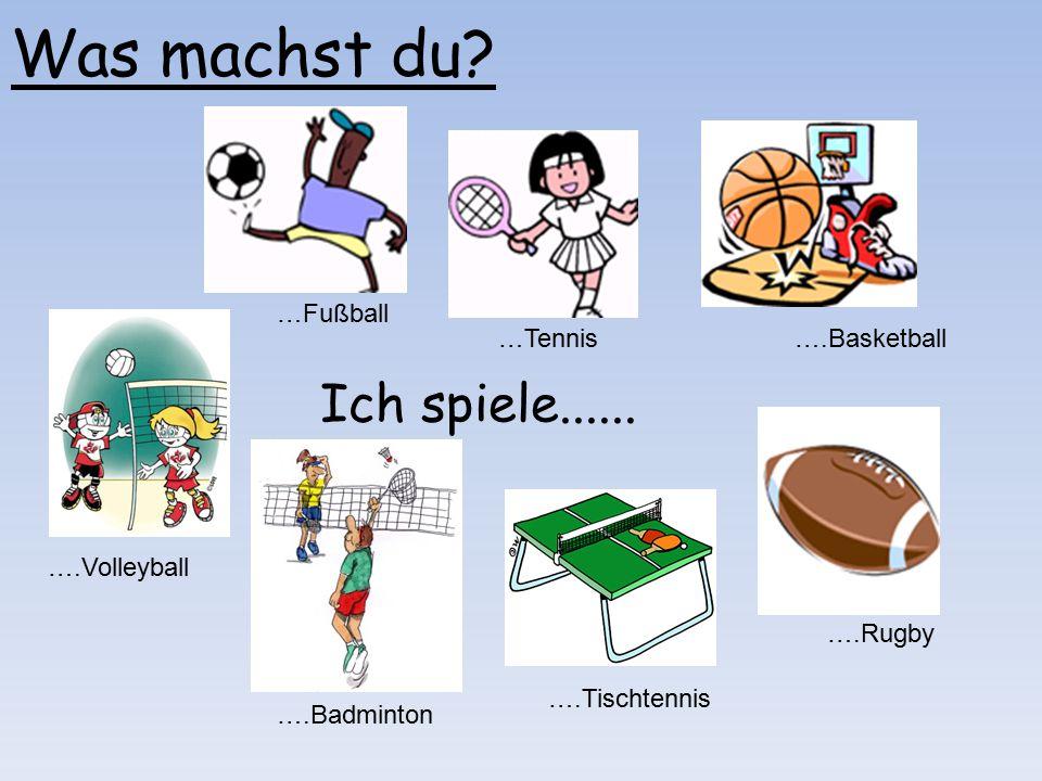 Was machst du? Ich spiele...... …Fußball …Tennis….Basketball ….Volleyball ….Badminton ….Tischtennis ….Rugby