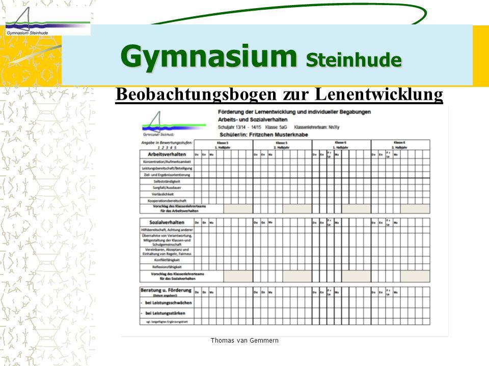 Thomas van Gemmern Gymnasium Steinhude Beobachtungsbogen zur Lenentwicklung