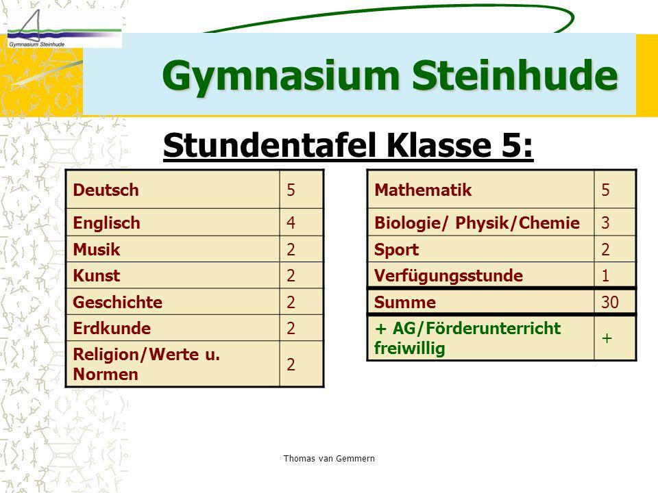 Thomas van Gemmern Gymnasium Steinhude Deutsch5 Englisch4 Musik2 Kunst2 Geschichte2 Erdkunde2 Religion/Werte u. Normen 2 Stundentafel Klasse 5: Mathem