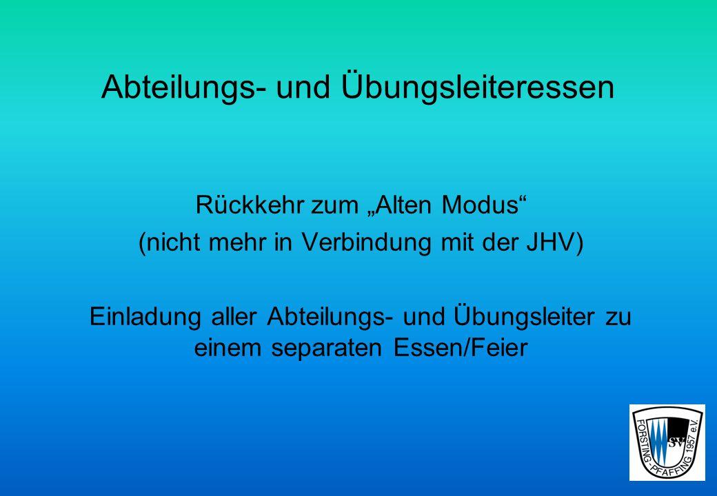 """Abteilungs- und Übungsleiteressen Rückkehr zum """"Alten Modus (nicht mehr in Verbindung mit der JHV) Einladung aller Abteilungs- und Übungsleiter zu einem separaten Essen/Feier"""