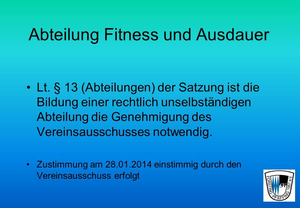 Abteilung Fitness und Ausdauer Lt.