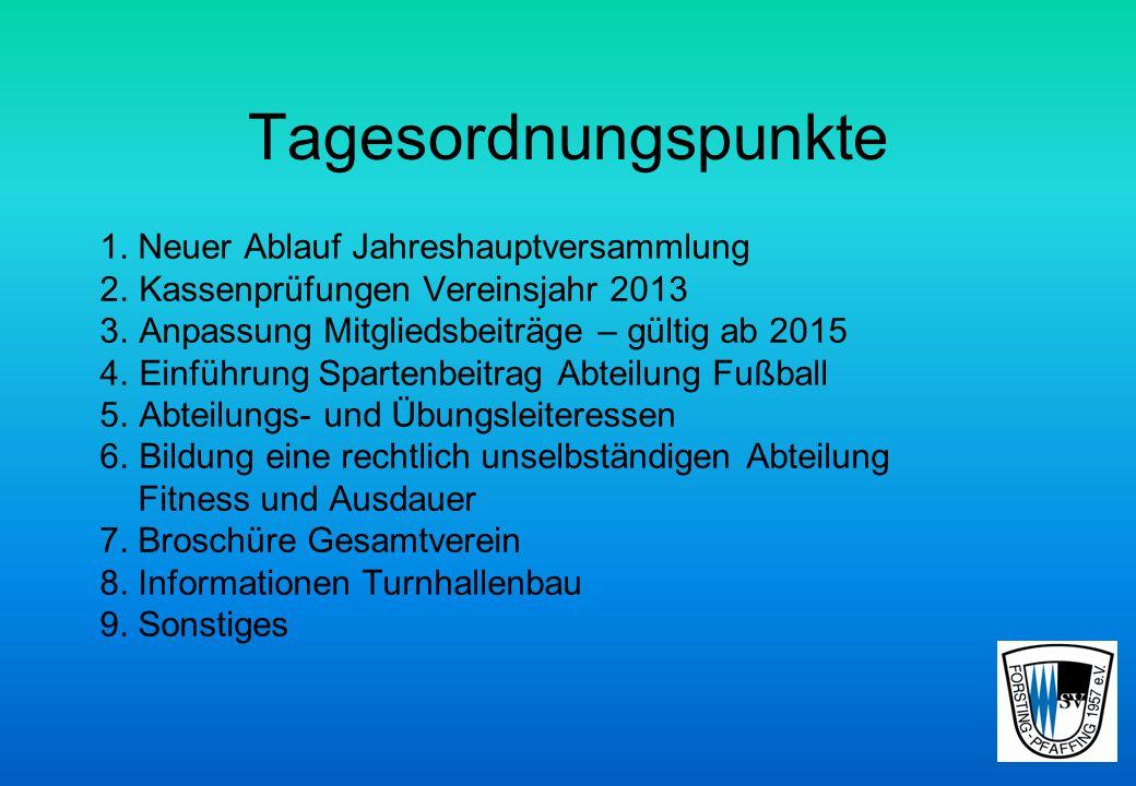 Jahreshauptversammlung Freitag, den 02. Mai 2014 statt Wo: Sportheim Forsting, 19:30 Uhr