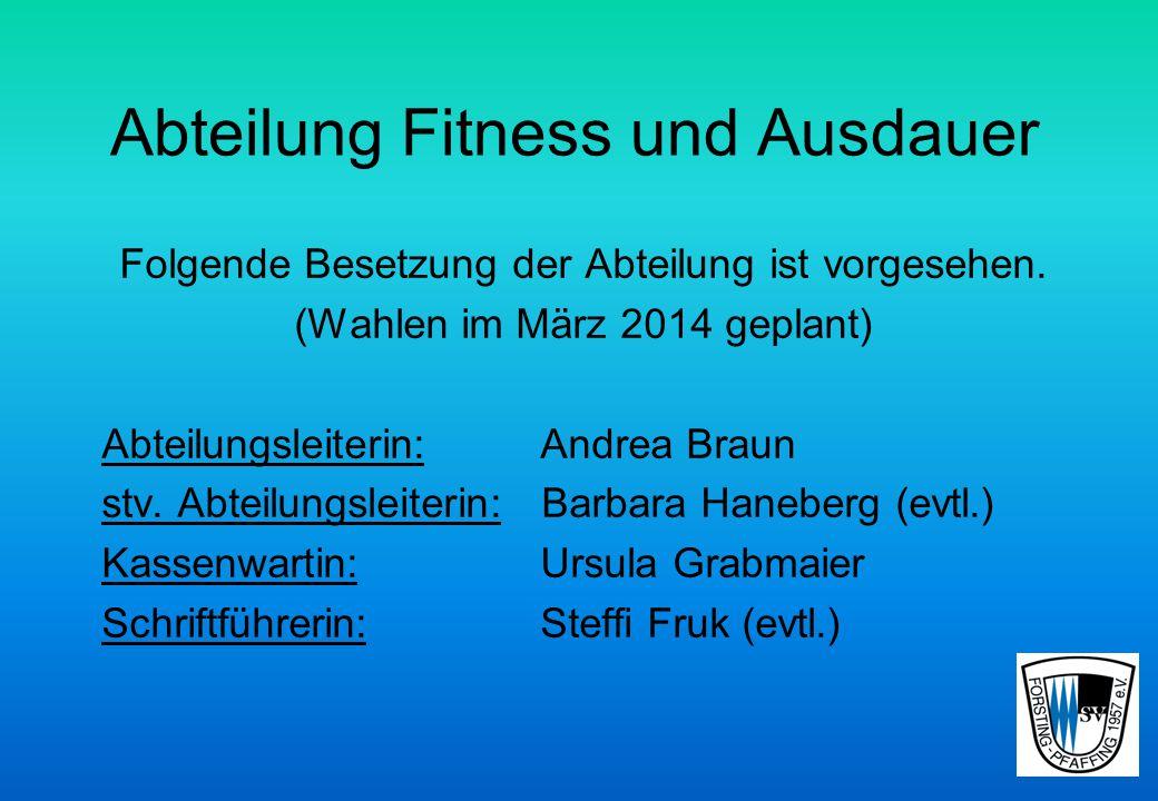 Abteilung Fitness und Ausdauer Folgende Besetzung der Abteilung ist vorgesehen.