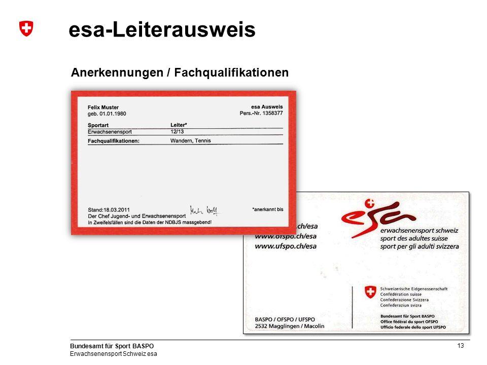 13 Bundesamt für Sport BASPO Erwachsenensport Schweiz esa esa-Leiterausweis Anerkennungen / Fachqualifikationen