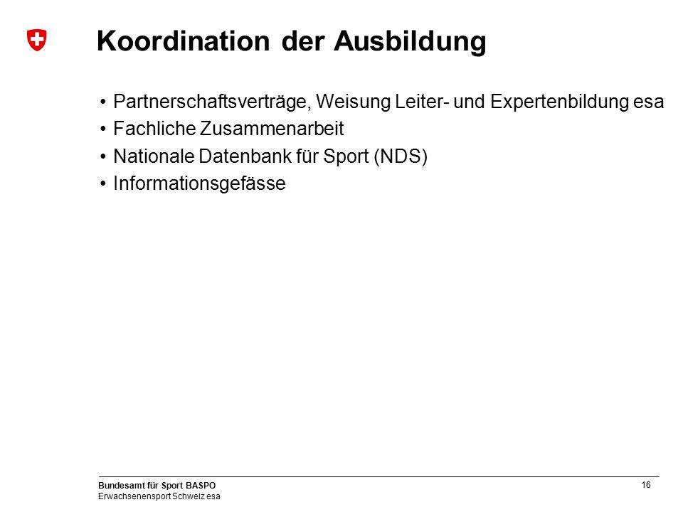16 Bundesamt für Sport BASPO Erwachsenensport Schweiz esa Koordination der Ausbildung Partnerschaftsverträge, Weisung Leiter- und Expertenbildung esa