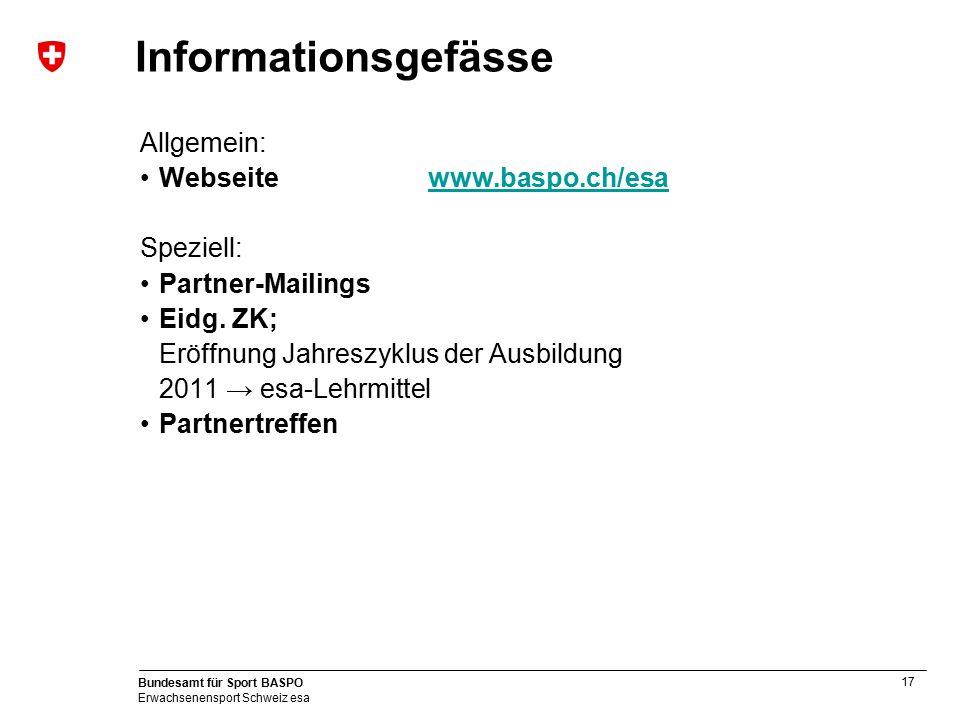 17 Bundesamt für Sport BASPO Erwachsenensport Schweiz esa Informationsgefässe Allgemein: Webseite www.baspo.ch/esawww.baspo.ch/esa Speziell: Partner-M