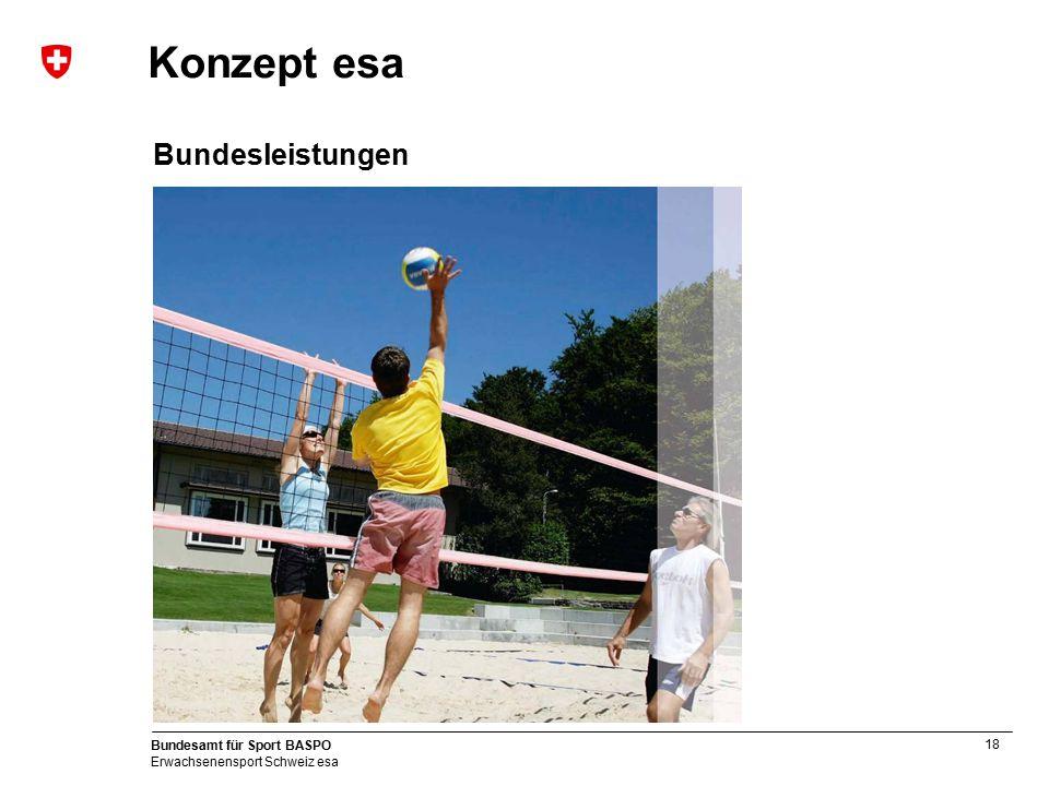 18 Bundesamt für Sport BASPO Erwachsenensport Schweiz esa Konzept esa Bundesleistungen