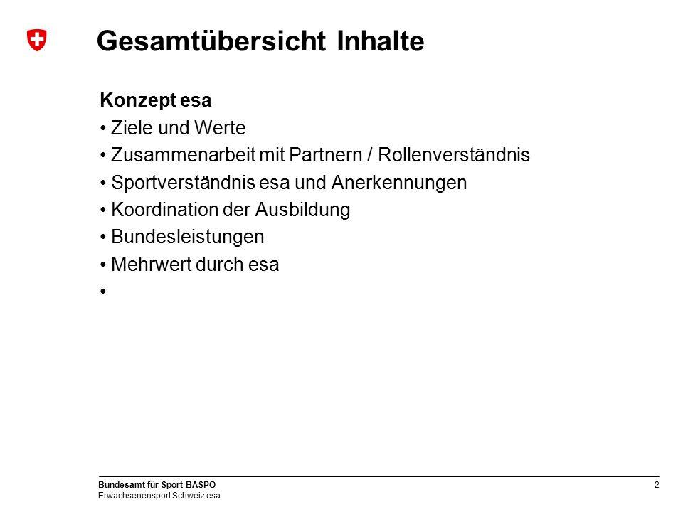 2 Bundesamt für Sport BASPO Erwachsenensport Schweiz esa Gesamtübersicht Inhalte Konzept esa Ziele und Werte Zusammenarbeit mit Partnern / Rollenverst