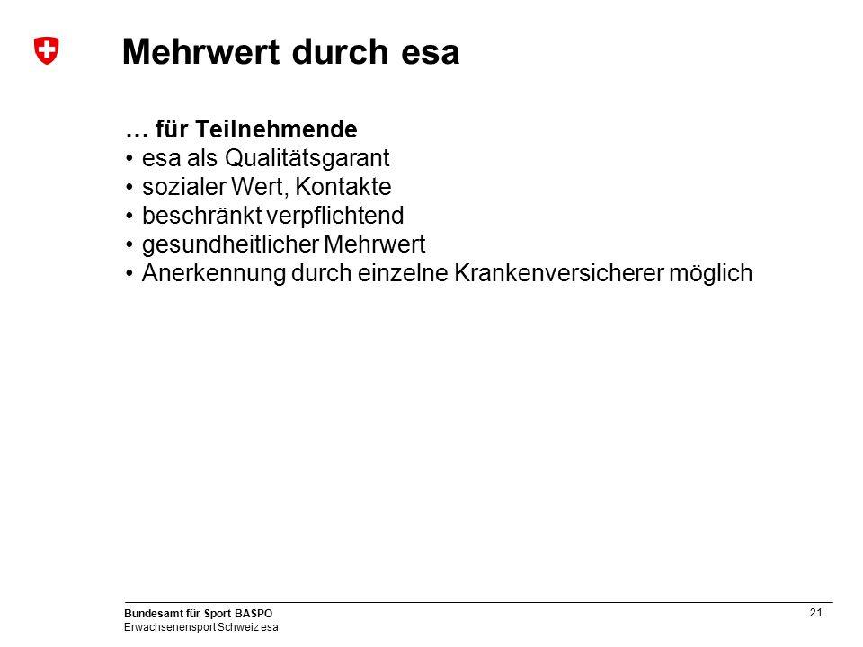 21 Bundesamt für Sport BASPO Erwachsenensport Schweiz esa Mehrwert durch esa … für Teilnehmende esa als Qualitätsgarant sozialer Wert, Kontakte beschr