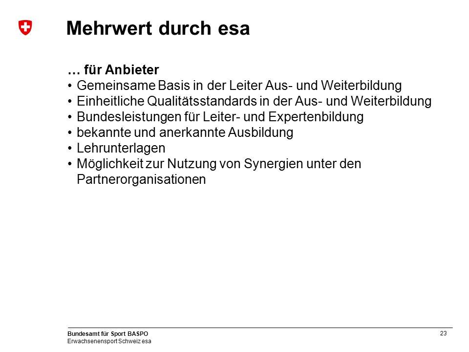 23 Bundesamt für Sport BASPO Erwachsenensport Schweiz esa Mehrwert durch esa … für Anbieter Gemeinsame Basis in der Leiter Aus- und Weiterbildung Einh