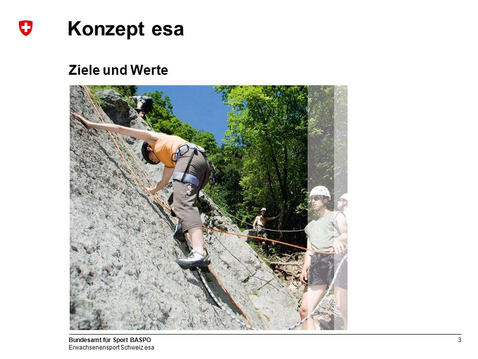 3 Bundesamt für Sport BASPO Erwachsenensport Schweiz esa Konzept esa Ziele und Werte