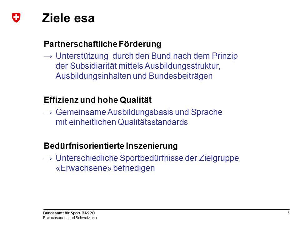 5 Bundesamt für Sport BASPO Erwachsenensport Schweiz esa Ziele esa Partnerschaftliche Förderung →Unterstützung durch den Bund nach dem Prinzip der Sub