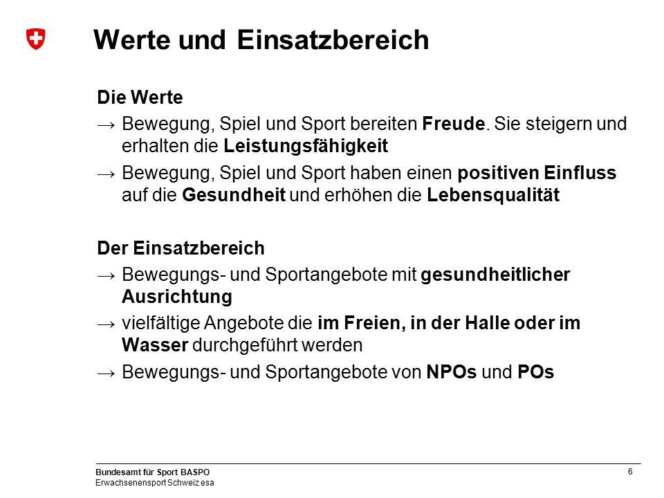 6 Bundesamt für Sport BASPO Erwachsenensport Schweiz esa Werte und Einsatzbereich Die Werte →Bewegung, Spiel und Sport bereiten Freude. Sie steigern u