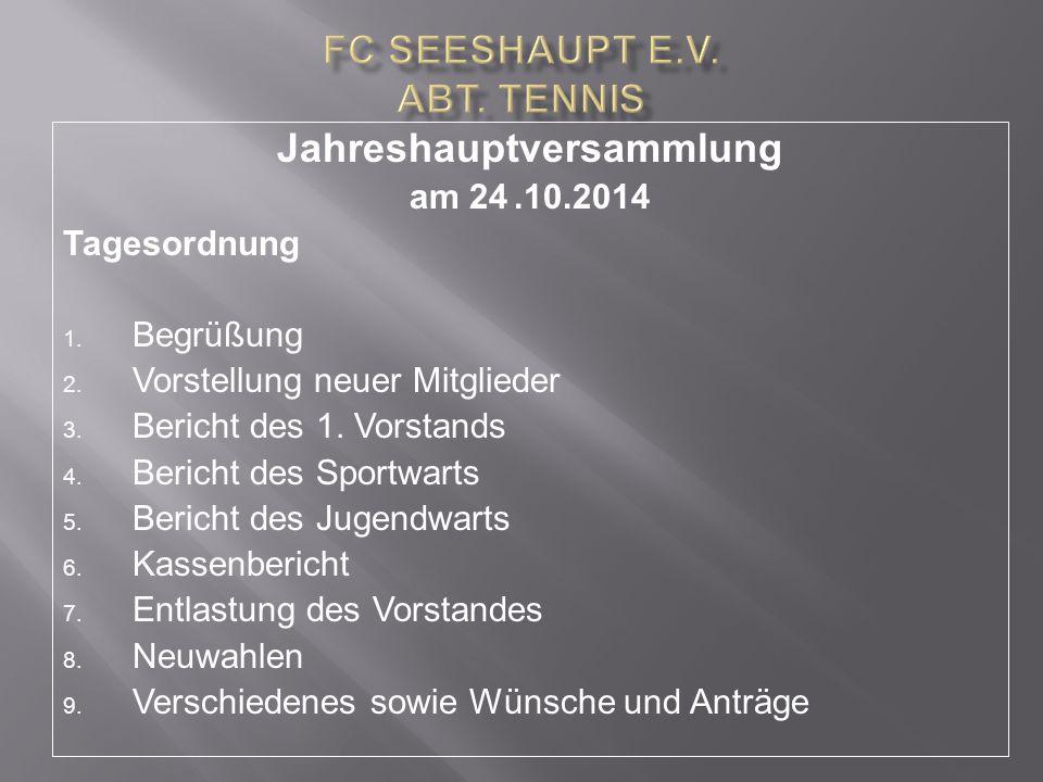 Jahreshauptversammlung am 24.10.2014 Tagesordnung 1. Begrüßung 2. Vorstellung neuer Mitglieder 3. Bericht des 1. Vorstands 4. Bericht des Sportwarts 5