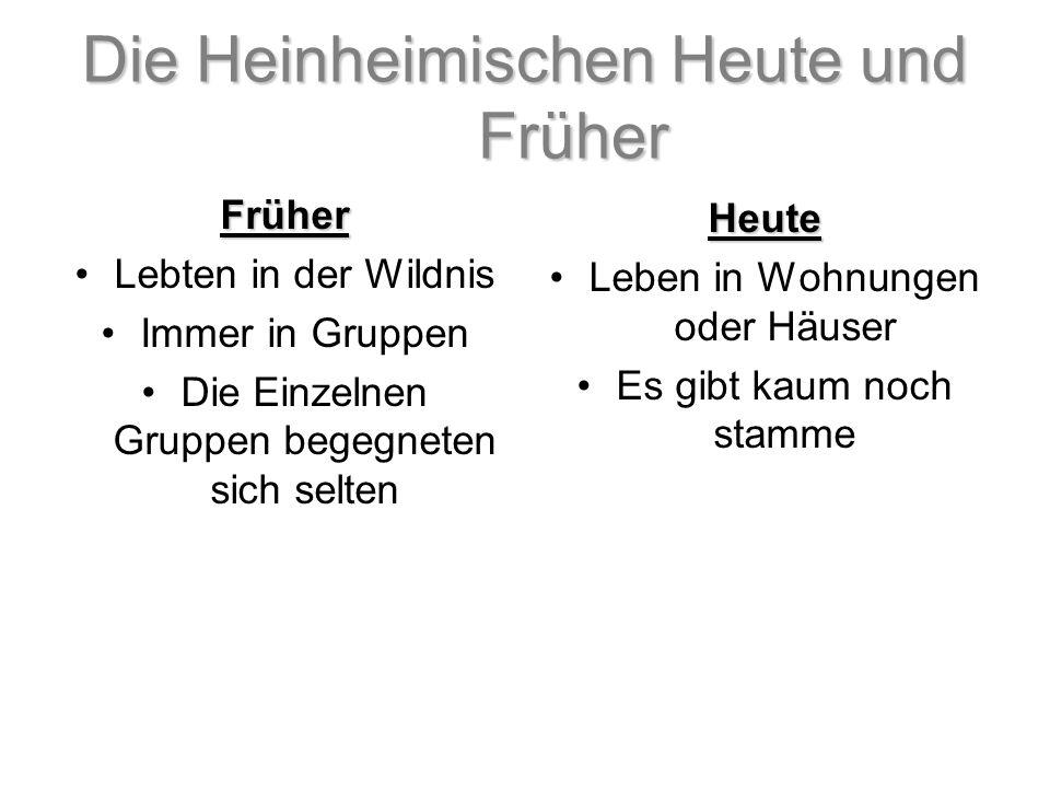 Die Heinheimischen Heute und Früher Früher Lebten in der Wildnis Immer in Gruppen Die Einzelnen Gruppen begegneten sich selten Heute Leben in Wohnunge