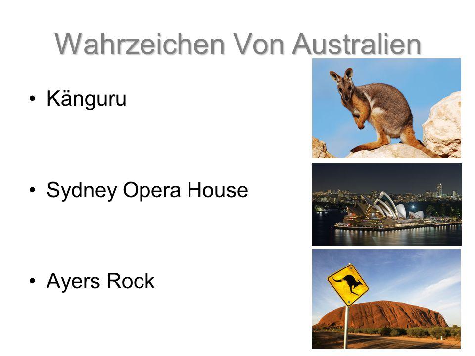 Wahrzeichen Von Australien Känguru Sydney Opera House Ayers Rock