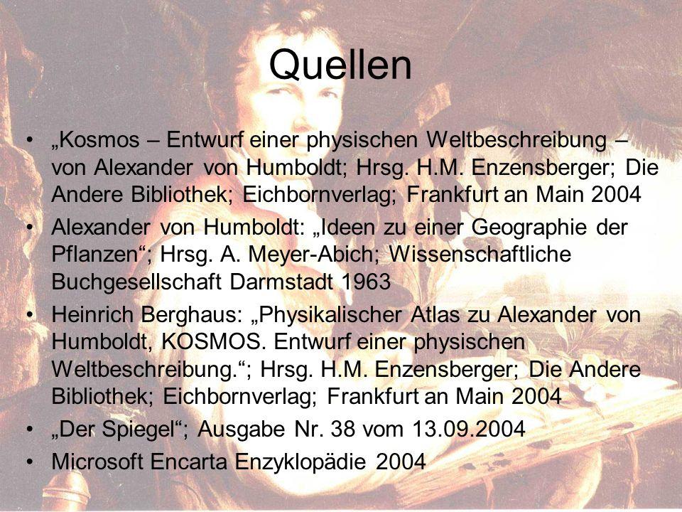 """Quellen """"Kosmos – Entwurf einer physischen Weltbeschreibung – von Alexander von Humboldt; Hrsg."""