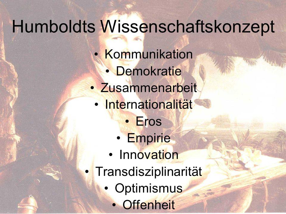 Humboldts Wissenschaftskonzept Kommunikation Demokratie Zusammenarbeit Internationalität Eros Empirie Innovation Transdisziplinarität Optimismus Offenheit
