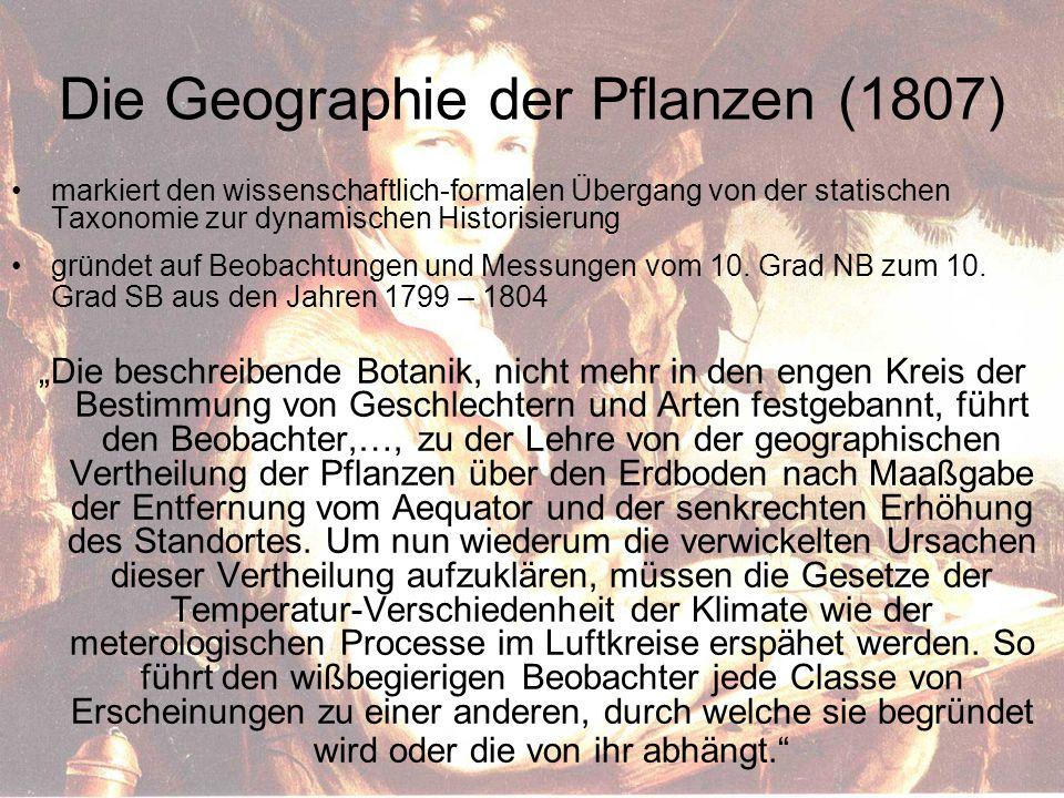 Die Geographie der Pflanzen (1807) markiert den wissenschaftlich-formalen Übergang von der statischen Taxonomie zur dynamischen Historisierung gründet auf Beobachtungen und Messungen vom 10.