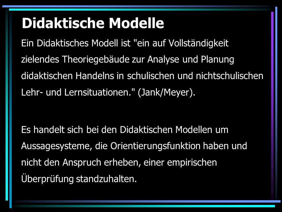 Didaktische Modelle Ein Didaktisches Modell ist