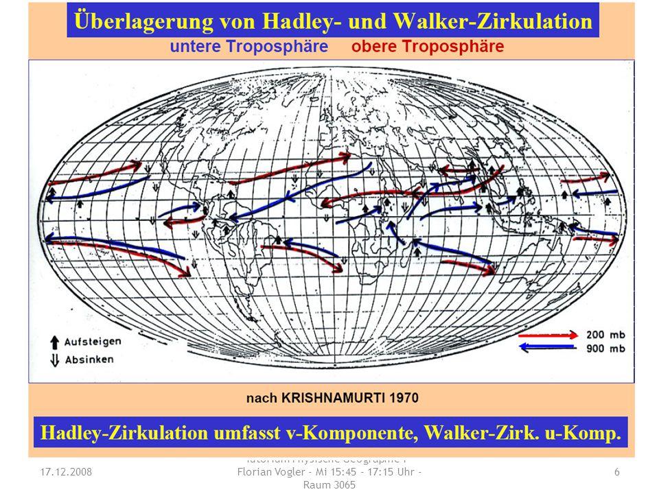 Wodurch wird die horizontale Komponente der tropischen Zirkulation ausgedrückt? Aus was setzt sich die tropische Zirkulation zusammen ? 17.12.2008 Tut