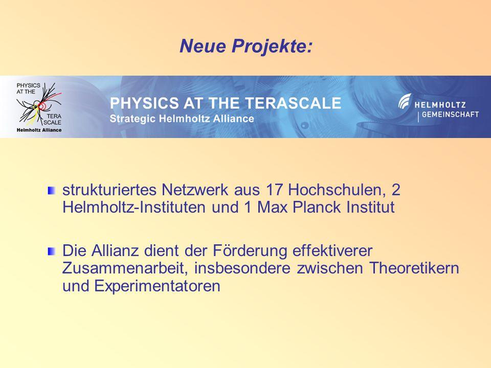 Neue Projekte: strukturiertes Netzwerk aus 17 Hochschulen, 2 Helmholtz-Instituten und 1 Max Planck Institut Die Allianz dient der Förderung effektiverer Zusammenarbeit, insbesondere zwischen Theoretikern und Experimentatoren