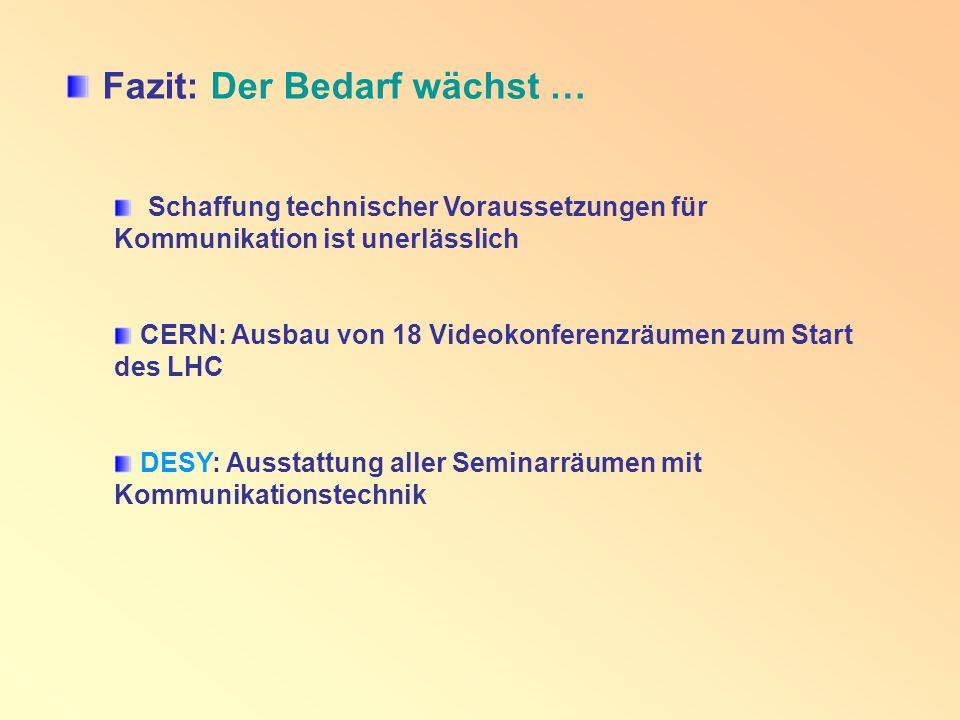 Fazit: Der Bedarf wächst … Schaffung technischer Voraussetzungen für Kommunikation ist unerlässlich CERN: Ausbau von 18 Videokonferenzräumen zum Start des LHC DESY: Ausstattung aller Seminarräumen mit Kommunikationstechnik