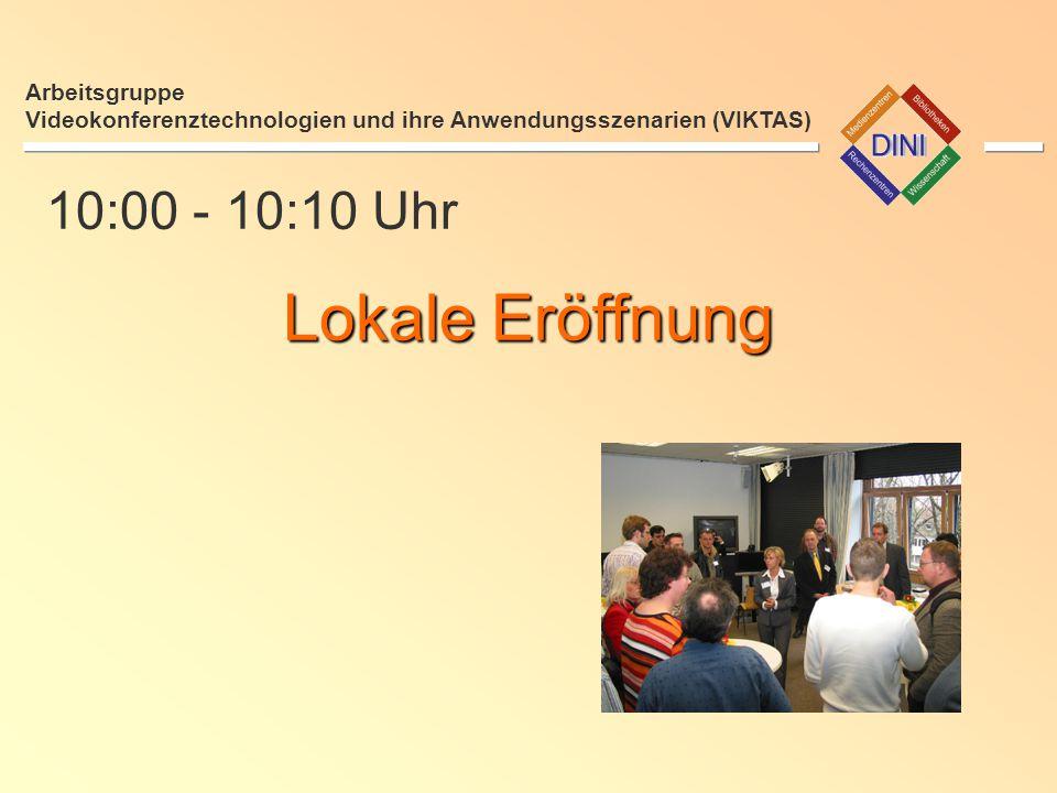 12:30 - 13:30 Uhr Mittagspause Arbeitsgruppe Videokonferenztechnologien und ihre Anwendungsszenarien (VIKTAS)