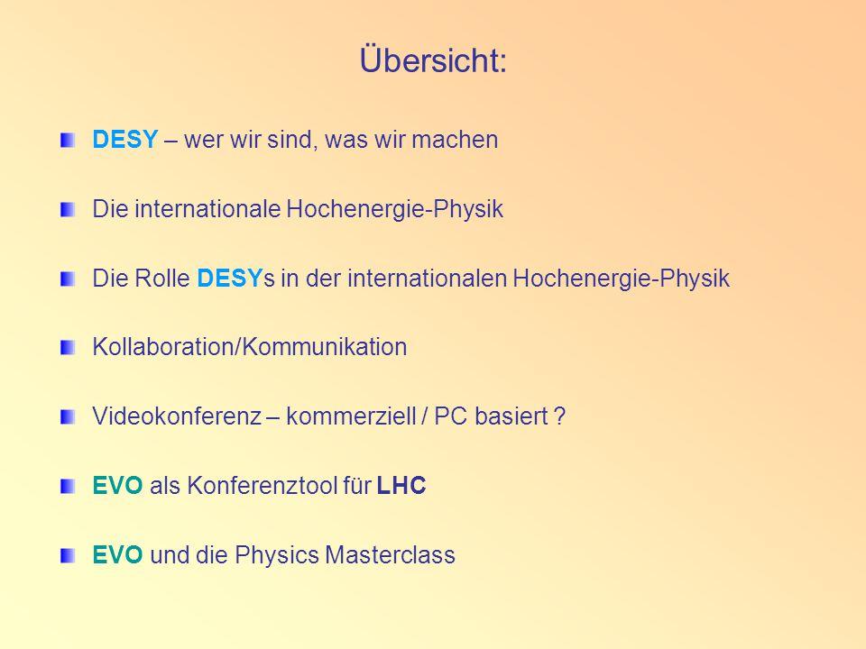Übersicht: DESY – wer wir sind, was wir machen Die internationale Hochenergie-Physik Die Rolle DESYs in der internationalen Hochenergie-Physik Kollaboration/Kommunikation Videokonferenz – kommerziell / PC basiert .