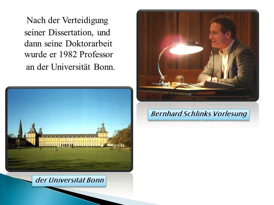 Nach der Verteidigung seiner Dissertation, und dann seine Doktorarbeit wurde er 1982 Professor an der Universität Bonn.
