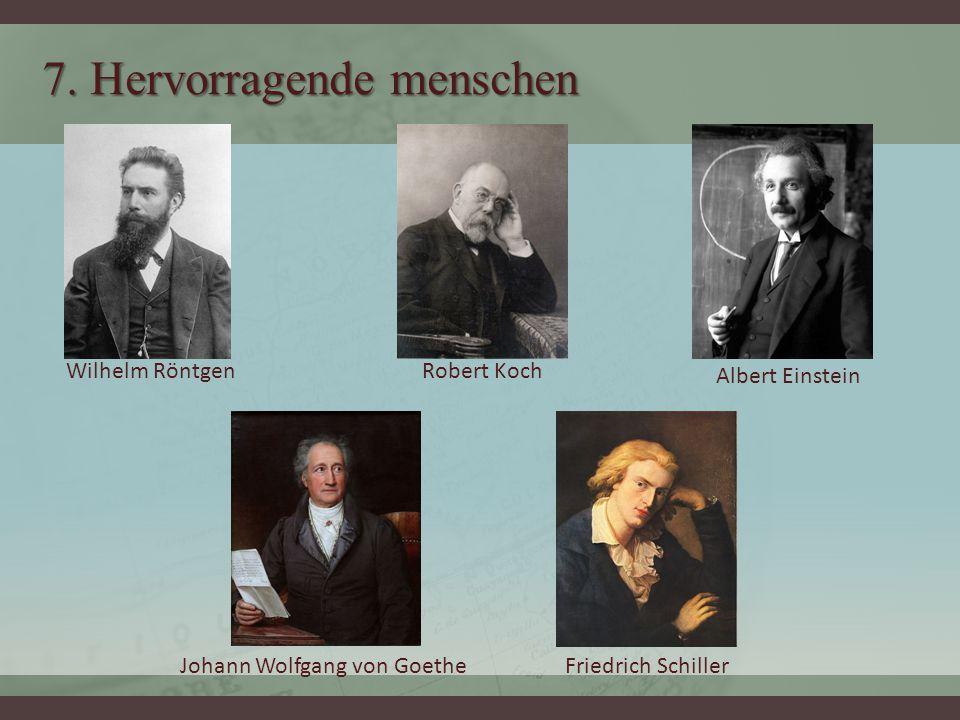 Robert KochWilhelm Röntgen Albert Einstein Johann Wolfgang von GoetheFriedrich Schiller 7. Hervorragende menschen