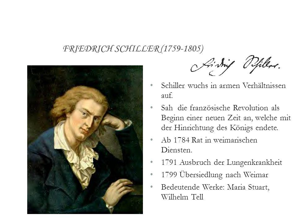 Schiller wuchs in armen Verhältnissen auf. Sah die französische Revolution als Beginn einer neuen Zeit an, welche mit der Hinrichtung des Königs endet