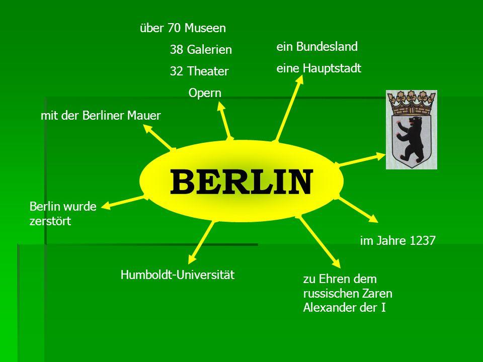 ein Bundesland eine Hauptstadt im Jahre 1237 zu Ehren dem russischen Zaren Alexander der I Humboldt-Universität Berlin wurde zerstört mit der Berliner