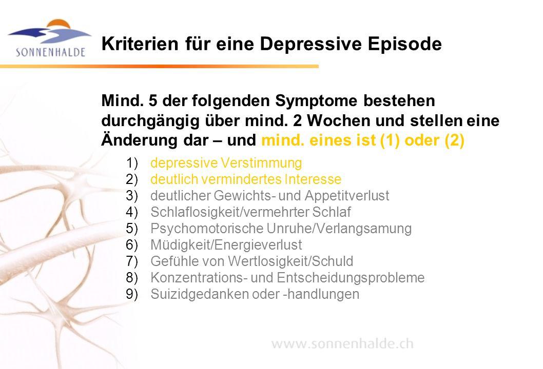 Kriterien für eine Depressive Episode Mind. 5 der folgenden Symptome bestehen durchgängig über mind. 2 Wochen und stellen eine Änderung dar – und mind