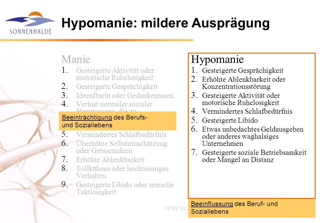 Beeinflussung des Beruf- und Soziallebens Hypomanie: mildere Ausprägung Manie 1. Gesteigerte Aktivität oder motorische Ruhelosigkeit 2. Gesteigerte Ge