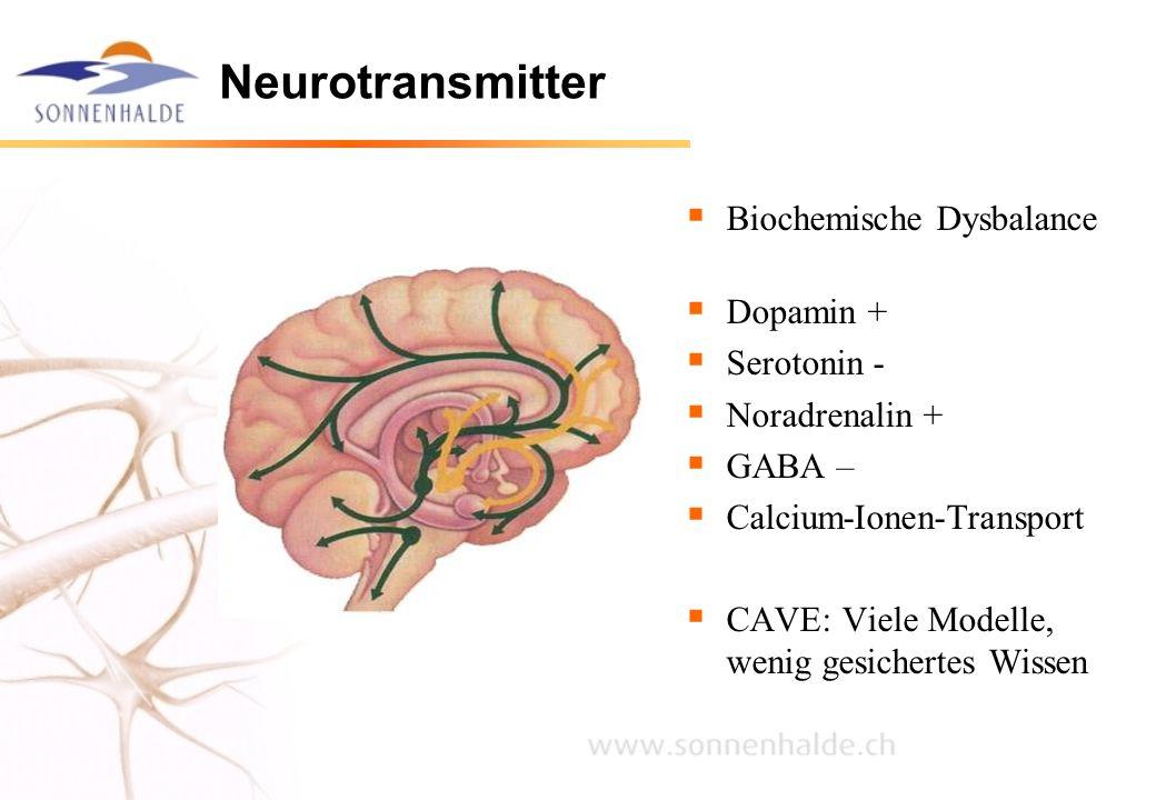 Neurotransmitter  Biochemische Dysbalance  Dopamin +  Serotonin -  Noradrenalin +  GABA –  Calcium-Ionen-Transport  CAVE: Viele Modelle, wenig