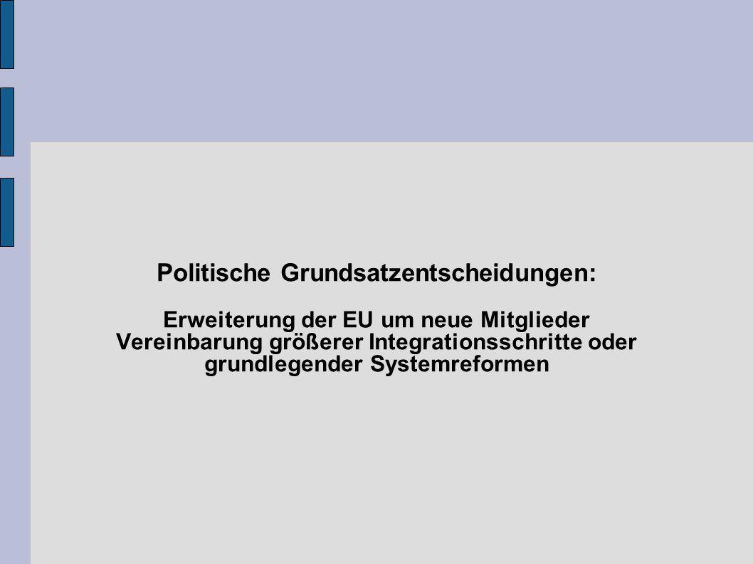 Politische Grundsatzentscheidungen: Erweiterung der EU um neue Mitglieder Vereinbarung größerer Integrationsschritte oder grundlegender Systemreformen