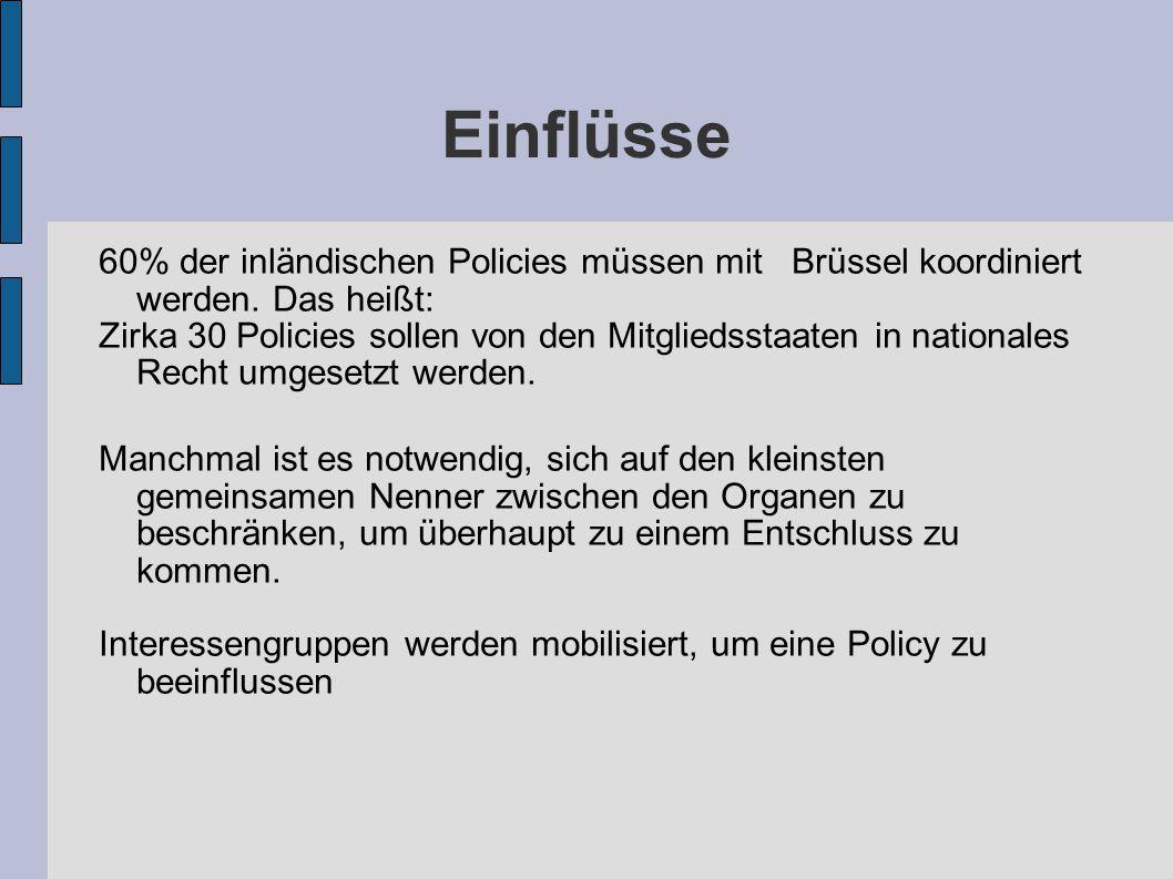 Einflüsse 60% der inländischen Policies müssen mit Brüssel koordiniert werden. Das heißt: Zirka 30 Policies sollen von den Mitgliedsstaaten in nationa